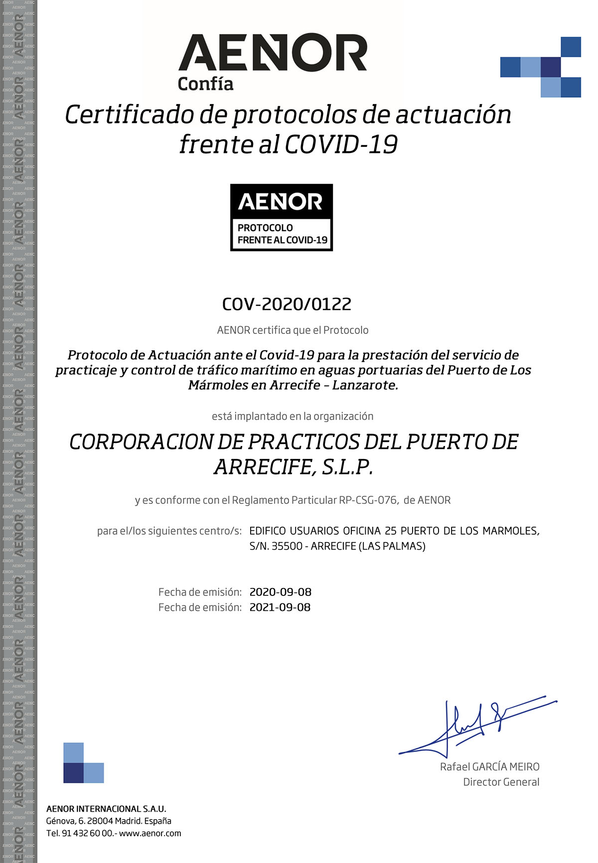 Aenor has granted the certificate against COVID 19 to our corporation of Pilots